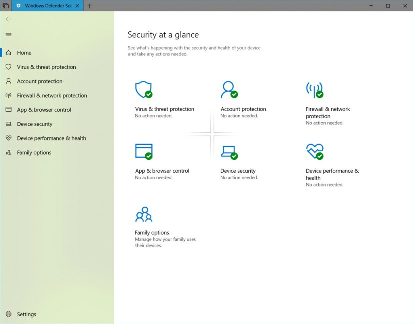 Windows Defender Security Center on build 17650
